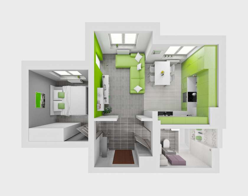 42 square meter clean flat interior